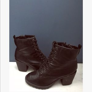 Lace Up Black Moto High Heel Boots.